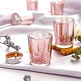 Supreme Lights Glas Teelichthalter 12er Set, 5.2x6.6cm, Gefleckter Teelichtgläser Geschenk Kerzenhalter Deko für Geburtstag, Party, Hochzeit, Feier, Haushalt, Gastronomie (Rosegold) - 4
