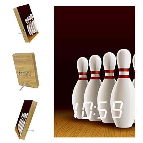 EZIOLY Bowling Lane Reloj despertador digital realista, visualización de tiempo, temperatura, fecha, luz LED, resina de madera, funciona con USB/batería, ahorro de energía para dormitorio y oficina