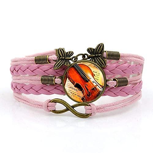 Pulsera tejida, cuerda rosa Vintage VIAJE MUSICA DE MÚSICA, Pulsera de piedras preciosas de tiempo Multi-capa Mano tejida de cristal Joyería de la joyería de la moda de la moda de la joyería de estilo