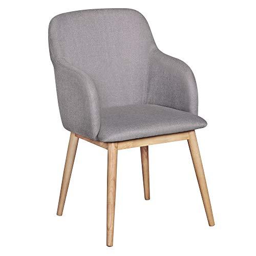 FineBuy Design Esszimmerstuhl SV45843 mit Armlehnen Polsterstuhl Bunt | Skandinavischer Schalenstuhl mit Stoffbezug | Gemütlicher Armlehnenstuhl mit Holzbeinen | Esszimmer-Sessel Modern
