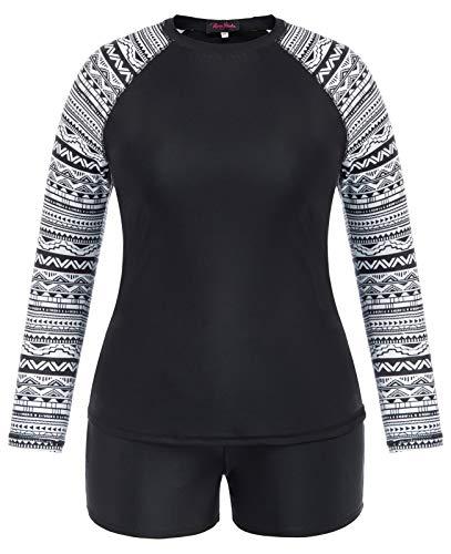 Women's Long Sleeve Rash Guard Bathing Suits Printed UV Sun Protection Swimsuits 20W