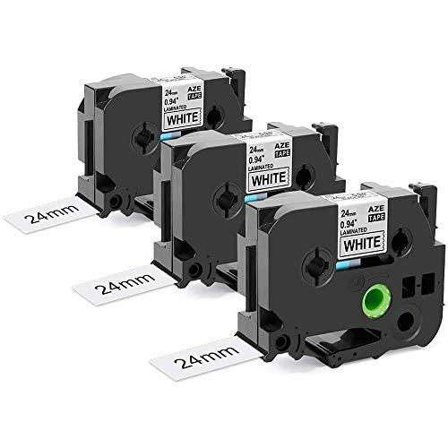 Oozmas kompatible Schriftband als Ersatz für Brother TZe 24mm TZe-251 Schwarz auf Weiß 24mm x 8m, Laminiert Etikettenband kompatible für Brother P-Touch D600 PT-7600 2430PC 2730, 3er-Pack