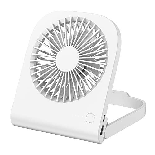 iHoven Mini USB Tischventilator, 4800mAh wiederaufladbar 180 ° verstellbarer persönlicher Tragbare Ventilator 4 Geschwindigkeiten 9-14 Stunden langer leiser Tischventilator für Reisen Büro Zuhause