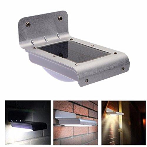 Jiguoor 16 LED à énergie solaire panneau lumineux Alimenté détecteur de mouvement lampe LED économie d'énergie Lampe murale Lampes de sécurité à énergie solaire pour extérieur Jardin