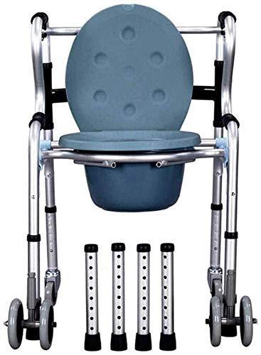 RONGW JKUNYU Bad Stuhl Mit Rad Mietklo Aluminium Folding Stahlrahmen Medizinische Hilfe WC-Sitz WC-Stuhl Armlehne Duschstuhl Badezimmerrollstühle