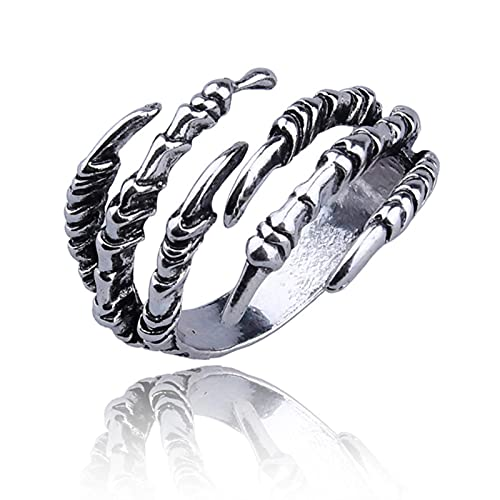 SONGK Punk Opening Dragon Claw Rings Steampunk Hip Hop Personality Finger Jewelry Men Women Halloween Rings