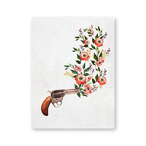 N / A Flower shot print red flower artwork poster villa chic decorative watercolor wall art picture bohemian canvas painting frameless decorative canvas painting A22 70x100cm