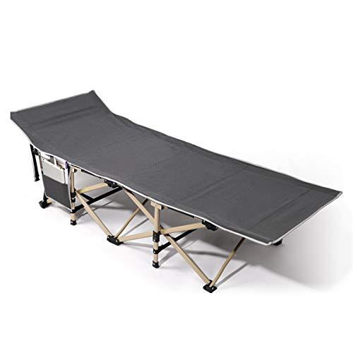 WSN Cama Plegable portátil, Cuna de Camping de Aluminio Camas Plegables para Invitados con Bolsillos Laterales, Tela Doble, para Exteriores e Interiores