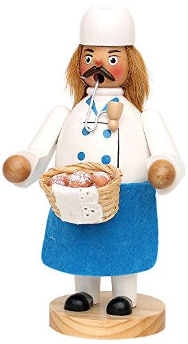 Unbekannt Sigro Baker mit Brotkorb Räuchermännchen, 20x 10x 11cm, weiß/blau