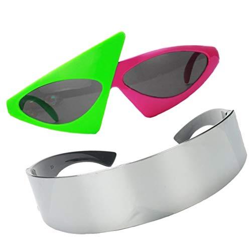 yotijar 2 Piezas Gafas Triangulares Novedosas Gafas Plateadas Futuristas