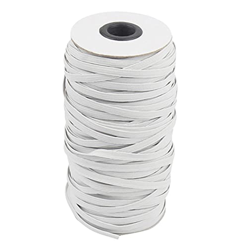 Elastic Bands Sewing Mask Cord Braided Elastic 100 Yards Length 1/8 Inch Width Braided Elastic Band Cord Knit, Elastic Spool High Elasticity Knit Elastic Band for DIY Sewing Mask Bedspread (Off White)
