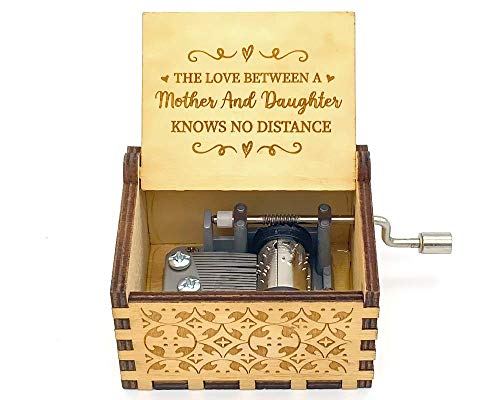 N/C Music Boxes for Mother/Daughter, The Love Between a Mother and Daughter Knows no Distance Laser Engraved Vintage Wooden Sunshine Musical Box Gifts for Birthday/Christmas/Valentines Day (Wood)