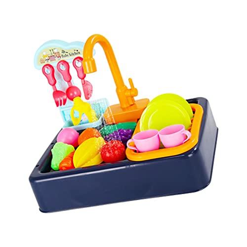 TOYANDONA Kök Spela Sjunk Leksaker Idag Elektrisk Diskmaskin Med Rinnande Vatten Barn Låtsas Spela Leksaker Kök Tillbehör Se För Småbarn Barn Pojkar Flickor Blåa