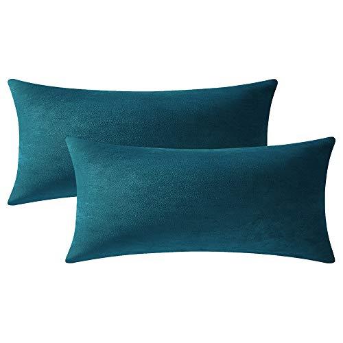 DEZENE Fundas de Cojín Verde Oscuro de 40x80 cm: Paquete de 2 Fundas de Almohada Rectangulares Decorativas de Terciopelo Suave Sólido para Sofá de Granja