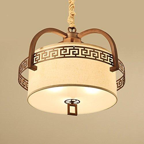 BBSLT Nuevo estilo chino moderno lámpara de cama redonda tela LED living room, con cálida den restaurante retro lámpara diámetro 60 cm 46 cm