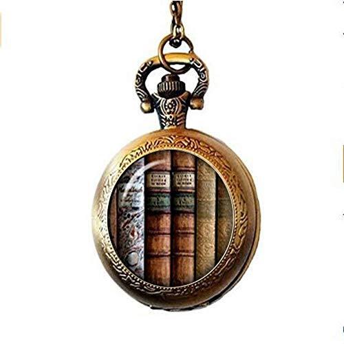 Buch Stack Taschenuhr Halskette, Bibliothek Geschenke Taschenuhr Halskette, Buchen Geek, Buchen Schmuck, Stapel der Bücher, Reader, Schriftsteller, Geschenk, Bibliothekar Schmuck Geschenk