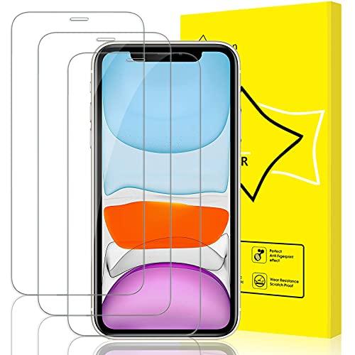 GiiYoon 3-Pack skärmskydd för iPhone XR och iPhone 11 härdat glas [HD kristallklar] [enkel installation] [rund kant] [repbeständig] [touch-vänlig] [bubbelfri] skärmskyddsfilm