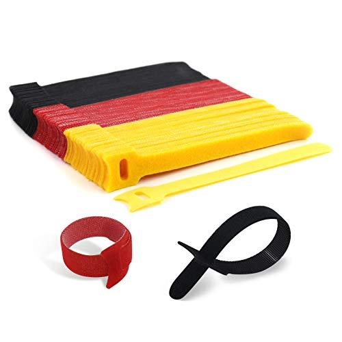 AGAKY 120 Stück Kabel Klettband, Wiederverwendbare Klettkabelbinder, Klettverschluss Selbstklebend Kabelbinder mit Nylon, 3 Farben Kabelklett für Hause und Büro