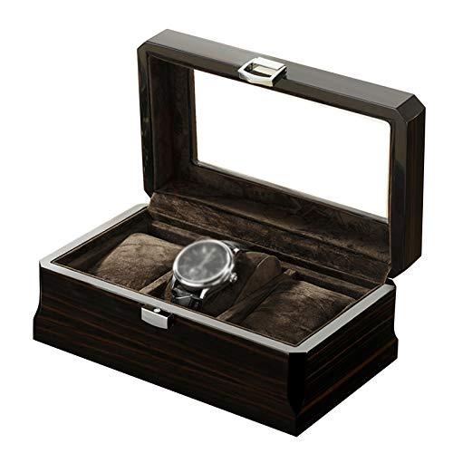 GYMEIJYG Caja De Almacenamiento De Reloj 3 Ranuras Caja De Reloj De Madera Cierre De Metal Caja De Reloj con Tapa De Cristal Personalizar Regalo para Hombres Mujeres