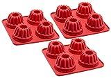 ZOLLNER24 3 moldes de silicona para repostería mini magdalenas, color rojo