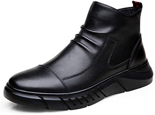 Zapatos de Hombre Bota De Caña Botas De Combate for Los Hombres, Tire De La Cremallera Lateral Genuino Calientes Zapatos De Cuero Del Resbalón Anti Arrugas, Puntera De Warm Plana Super Suave Zapatos