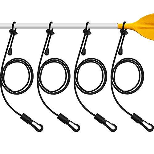 Sumind 4 Correas de Paleta de Kayak Correa de Caña de Kayak Ajustable Correa de Paleta de Pesca de Nailon Duradero con Cierre, Negro