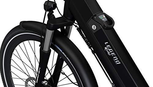 Legend Milano Vélo Électrique Ville Smart eBike Roues de 26 Pouces, Freins Disque Hydraulique, Batterie 36V 14Ah Panasonic (504Wh), Autonomie jusqu'à 100km, Blanc Artic