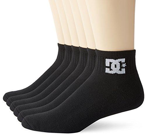 DC 6 Pack Mens Shoes Black Quarter Crew Socks White Logo