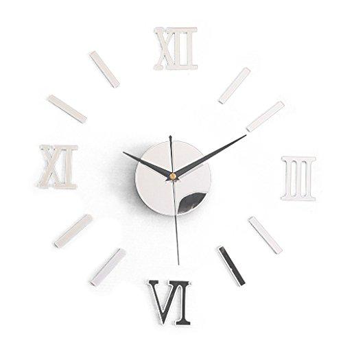 SODIAL(R) Pegatinas de relojs de Pared Pegatinas de relojs Grandes de Pared Pegatinas de Taza Decoracion Moderna de Cocina de casa ¨C Plata