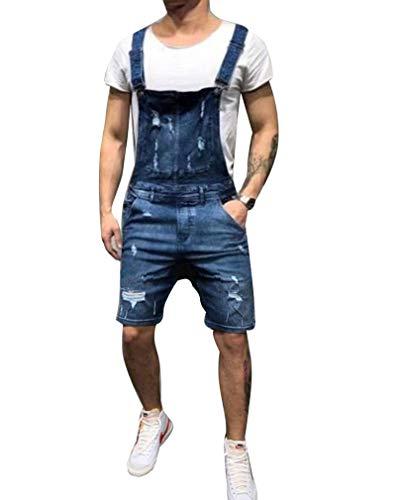 GUOCU Pantalones Cortos de Mezclilla para Hombre Peto Monos Vaqueros Cortos Jumpsuit de Casual Trabajo con...