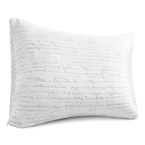 Clara Clark Shredded Memory Foam Queen/Standard Size Pillow with Removable Washable Pillow Cover