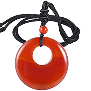 SUNYIK Natural Carnelian Lucky Coin Pendant Necklace for Women Men, Healing Crystal Amulet Jewelry for Unisex, Donut Round Shaped, Adjustable 18''-28'' Strand