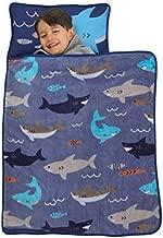 Everything Kids Blue & Grey Shark Toddler Nap Mat with Pillow & Blanket, Grey, Blue, Navy, Orange, Shark - Blue/Grey