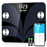 TICWELL Essential Scales for Body Weight Digitial Bathroom Scale Bluetooth Weight Scale for Body Fat Composition Analyzer with Smartphone App Sync 13 Data with Other Fitness Apps, 400 lbs