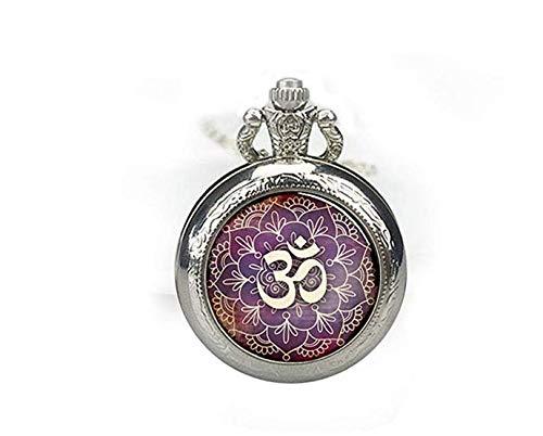 Om - Collar de reloj de bolsillo, símbolo de Om, collar de reloj Namaste, colgante de reloj Zen, collar de yoga, joyería de reloj budista