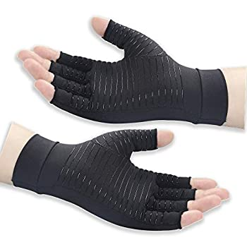 Copper Arthritis Compression Gloves Women Men Relieve Hand Pain Swelling and Carpal Tunnel Fingerless for Typing Support for Joints Medium