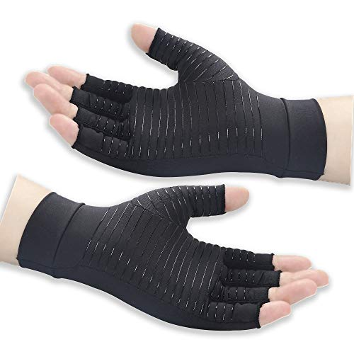 Copper Arthritis Compression Gloves Women Men Relieve Hand Pain Swelling and Carpal Tunnel Fingerless for Typing, Support for Joints, Large