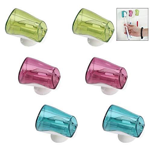 Xrten 6 Stück Zahnbürstenhülle mit Saugnapf, Zahnbürste Kopf Abdeckungen, Zahnbürste Schutzhülle für Reisen und Bad