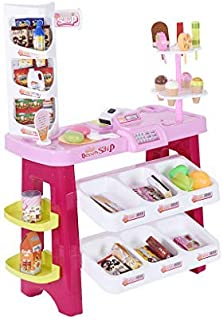 TKI-S Supermarket Pretend Play Stand Food Shopping Grocery Store Playset with Scanner Large Supermarket Shopping Cashier with Fruit Food Light Effects