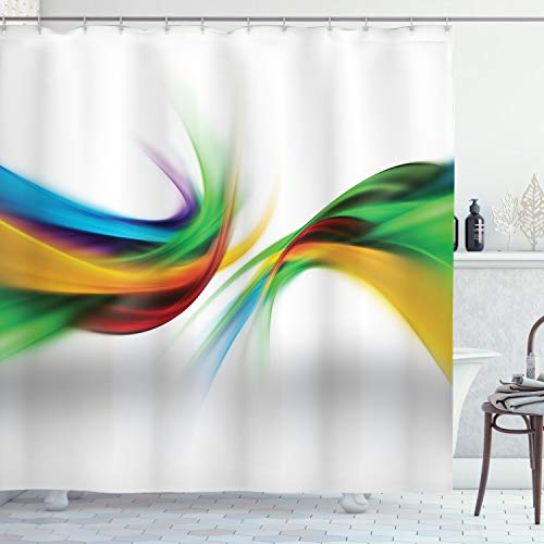 """Ambesonne Abstract Shower Curtain, Abstract Rainbow Inspired Shapes Blurred Flooding Rays Stripes Color Bands Print, Cloth Fabric Bathroom Decor Set with Hooks, 75"""" Long, Mustard Green"""