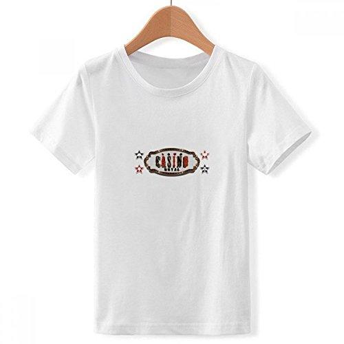 DIYthinker Jungen Schwarz Rot Casino Schild Muster Rundhalsausschnitt Weißes T-Shirt XXX-Groß Mehrfarbig
