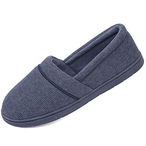 ULTRAIDEAS Women's Comfy Memory Foam Knit Slippers, Ladies' Plush Terry Lining Loafer Lightweight House Shoes with Indoor Outdoor Anti-Skid Rubber Sole (Medium / 7-8, Navy)