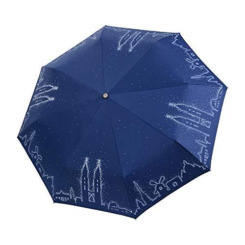 Paraguas Paraguas Plegable De Cuento De Hadas con Patrón De Torres Gemelas Paraguas De Lluvia para Mujer Paraguas UV para Mujer Paraguas para La Vida Diaria Playa Azul Marino