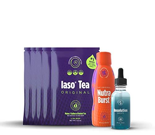 TLC IASO Natural Herbal Detox Tea Bags (5 Pack)   Nutraburst Multivitamin Liquid 16 Fl. Oz (1 Pack ) & Resolution Drops 2 Fl. Oz (1 Pack)