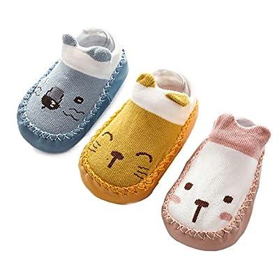 Happy Cherry - 3 pares de Calcetines de Suela para Bebés Recien Nacido Primeros Pasos Antideslizantes Zapattillas de Piso Prewalker Algodón con Dibujo Animal - 11cm/0-6 Meses