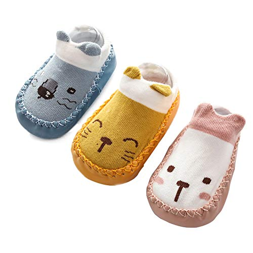 Happy Cherry - 3 pares de Calcetines de Suela para Bebés Recien Nacido Primeros Pasos...