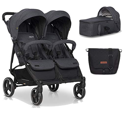 Double Buggy - with Footmuff, Mother Bag & Baby Carrycot Lightweight Double Pushchairs - Backrest Adjustment in Double Stroller, Twin Stroller has 360° Swivel Wheels & Roomy Shopping Basket