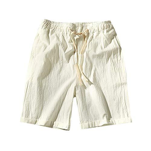 Mode pour Hommes D'éTé Pieds Minces Confortables Slim 7 Pantalons Shorts en Coton DéContractéS Short Homme Grande Taille Eté Casual Elastique Cordon De Serrage Sport Pantacourt(White,XXXXXL)