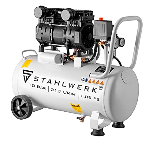 STAHLWERK Kompressor Druckluft Flüsterkompressor ST 310 pro - 30L Stahlkessel, 10 Bar, ölfrei, 210 L/Min, sehr leise, sehr kompakt, leichteste und stärkste Kompressor in seiner Gewichtsklasse!