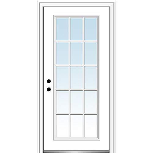 National Door Company Z000725R Steel Primed, Right Hand in-Swing, Prehung Front Door, 15 Lite External Grilles, Clear Glass, 30